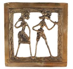 Brass Dhokra Wall Art Rural Tribal Couple Daily Activity
