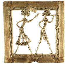 Brass Wall Art Hanging Tribal Couple Arguing Daily Activity