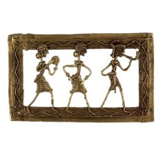 Brass Wall Art Tribal Dance Troupe Two Lady Man Blowing Trumpet