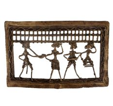 Brass Dhokra Art Hanging Rectangular Border Tribal Dancing Troupe