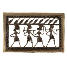 Brass Dhokra Art Hanging Tribal Dancing Troupe Leafy Border On Top