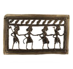 Brass Tribal Dancing Troupe  Dhokra Art Hanging Leafy Border On Top