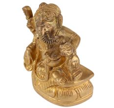 Brass Ganesha Statue Sitting With Modak In Hand