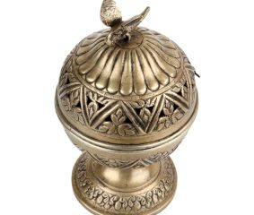 Round Brass Storage Box Jali Design And Bird On Top