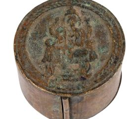 Round Brass Storage Box With Ganesha On Top