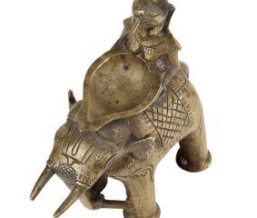 Brass Lady On Elephant Holding A Diya