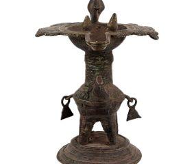 Brass Oil Lamp From Orissa Work Bird Figurines