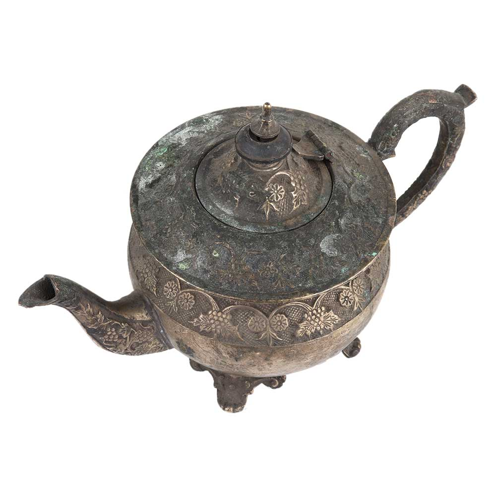 Old Brass Ornate Kettle Pot With Four Legs