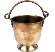 Old Brass Bucket With Swing Handle