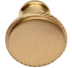 Round Beaded Brass Cabinet Door Pull Knobs In Golden Color