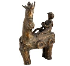 Brass Tribal Statue Riding Man On Horse In Unusual Design