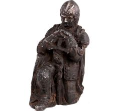 Brass Statue Kneeling Down European Warrior With Sword