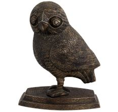 Brass Owl Standing  with big Eyes And Pointy Beak