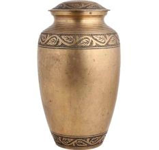Handmade Brass Urn Pot Leaves Carved With Lid