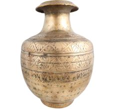 Brass Pot Carved Design And Thick Mouth Round Base