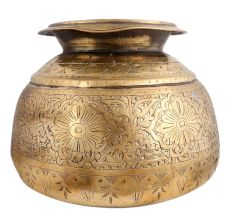Brass Pot Round Carved Floral Deign Traditional Planter Pot