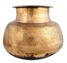 Brass Carved Pot Round Shape Thick Neck And Mouth
