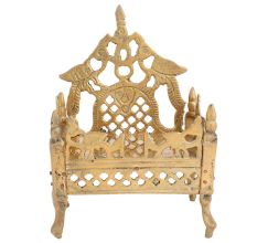 Carved Krishna Singhasan Bed Pooja Decoration