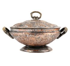 Copper Rice Bowl Kashmiri Style With Lid And Handles