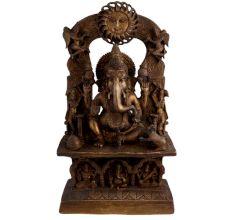 Vintage Brass Ganesha on His Aasan Sun God prabhavali