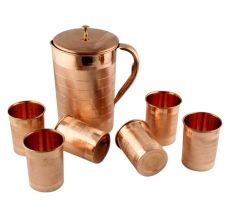 Copper Jug Pitcher With 6 Copper Glasses Set