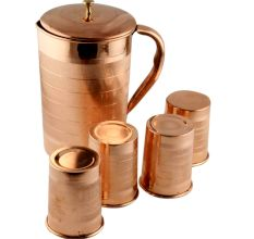 Luxurious Copper Jug With Lid And 4 Copper Glass Serve ware