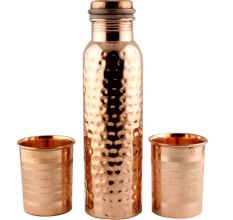 Hand Hammered Copper Water Bottle With 2 Glasses set