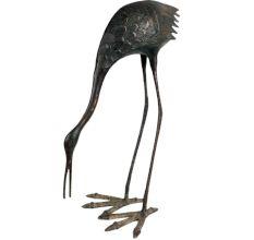 Handcrafted Crane Brass Bird Statue Home Decoration