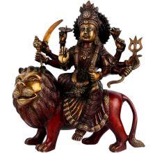 Exquisite Red Brass Goddess Durga On A Lion