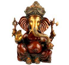 Hand crafted Red Brass Ganesh Idol Figurine