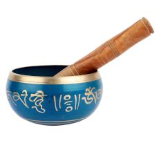 Singing Bowl Hand painted Blue Metal Tibetan Bowl With Mallet
