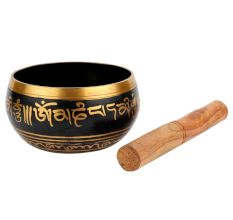 Tibetan Singing Bowl Hand Painted Deep Blue With Mallet For Meditation