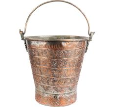 Copper Bucket With Detailed Chasing And Repousse Work And Handle