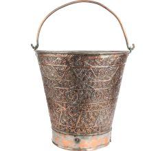 Copper Bucket Floral Kashmiri Repousse Artwork With Handle