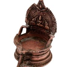 Brass Oil Lamp Engraved Goddess Laxmi And Two Jumbo Elephants