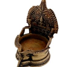 Hindu Goddess Lakshmi Brass Oil Lamp