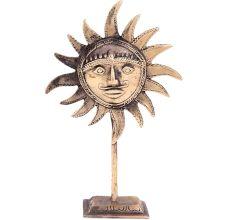 Brass Sun God Face On Stand