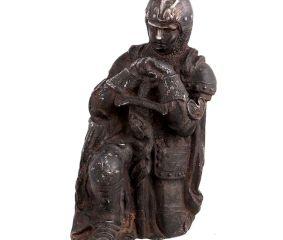 Brass Statue Kneeling Down European Warrior With Sword