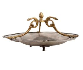 Silver Metal Serving Dish With Golden Snake Handles