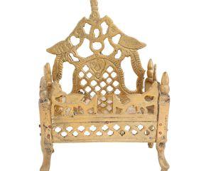 Carved Krishna Singhasan Bed Pooja Decoration