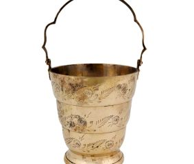 Brass Carved Bucket Engraved Leaves And Flowers