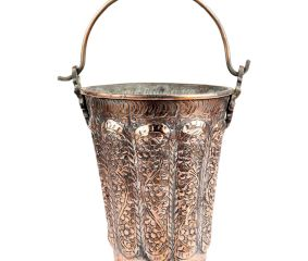 Copper Bucket With Hand Engraved Floral Design With Handle