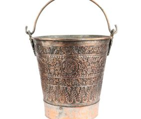 Copper Bucket With Kashmiri Repousse Work And Handle