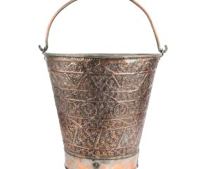 Copper Bucket Floral Kashmiri Repousse Artwork With Handle