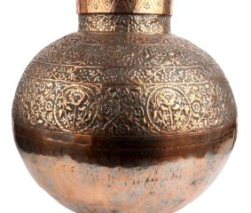 Hand made Copper Pot And Planter With Kashmiri Repousse Artwork