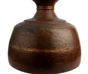 Copper Old Nepalese Water Pot With One Ring Handle