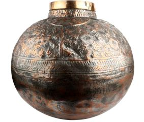 Round Copper Traditional Water Pot Embossed Design