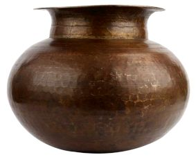 Hand Hammered Round Brass Pot With A Small Mouth