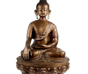 Handmade Brass Buddha Statue Meditating On Lotus Base