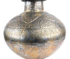 Repousse Floral Copper Water Pot Vintage Collection
